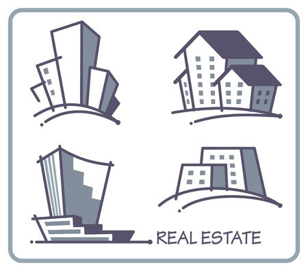 exteriors: Real estate icons Illustration
