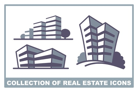 residential district: Collection of real estate icons