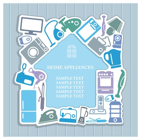 Background on home appliances theme Vector