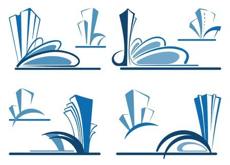 logo batiment: Résumé des icônes architecturales - les symboles de l'immobilier Illustration