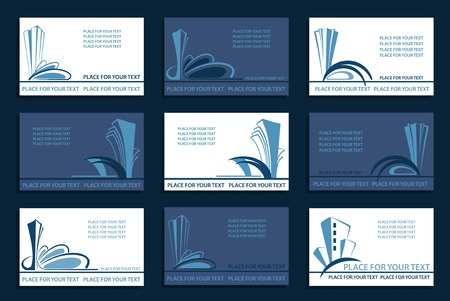 Business cards with images of abstract architectural compositions Vector