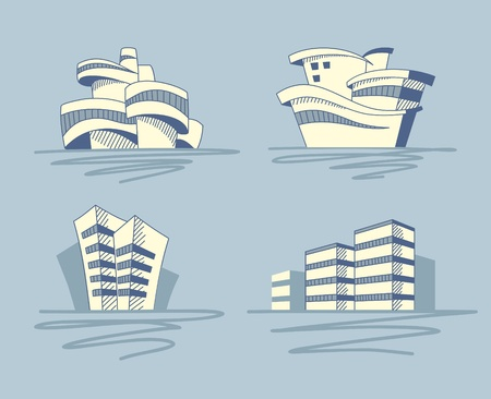 Abstract architectural icons Vector