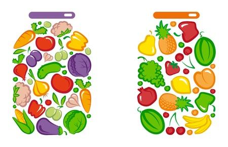 유리 항아리에 보존 된 야채와 과일 일러스트
