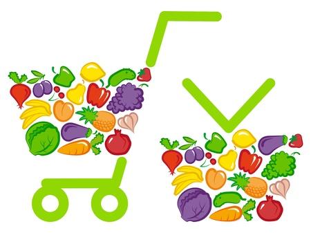 야채와 과일과 함께 쇼핑 바구니 및 카트
