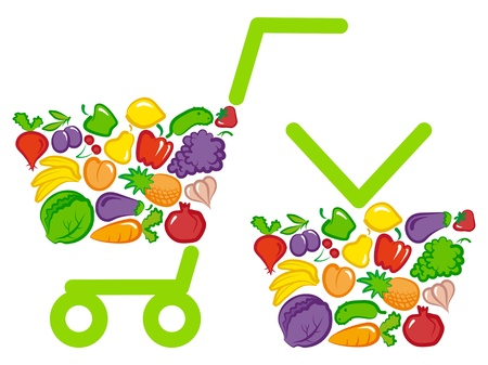 shopping basket and cart with vegetables and fruits