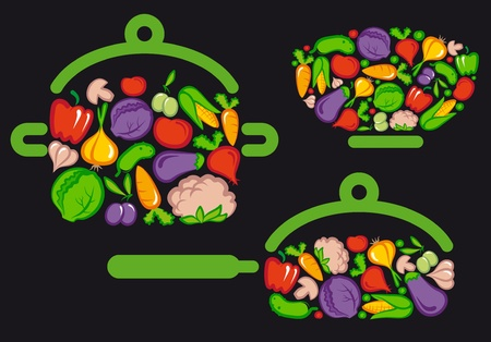 Symbols of preparation vegetarian food Vector