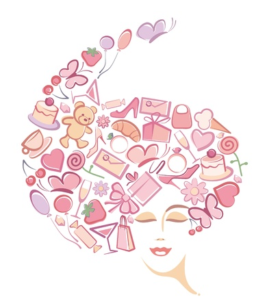 hair bow: Abstract womans face  Illustration