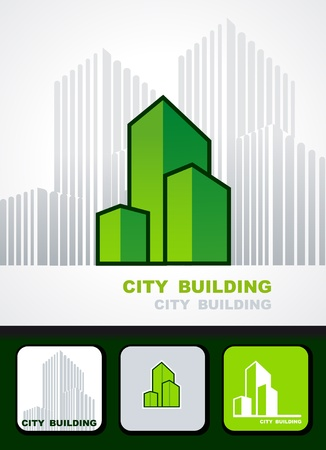 City building background, icon and business cards Vector