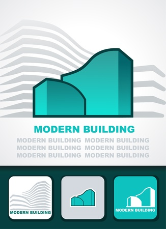 exterior element: Modern building background, icon and business cards Illustration