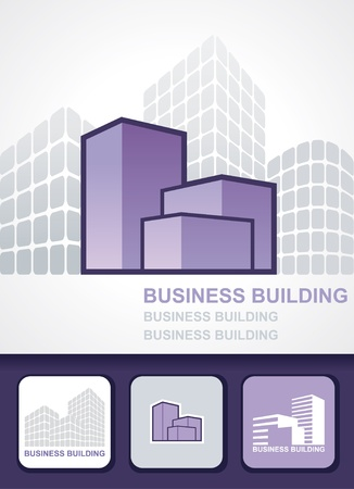 Building background, icon and business cards Vector