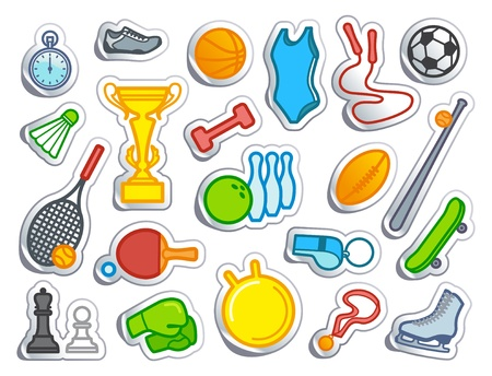 Simple sports icons in the form of stickers Vector