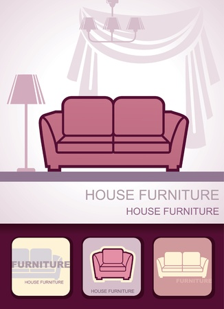 Furniture background, icon and business cards Stock Vector - 12858323