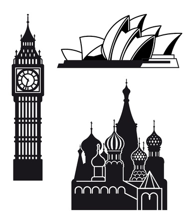 big ben tower: Sydney London and Moscow icons