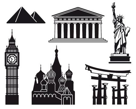 famous: 世界上不同國家的景點圖標 向量圖像