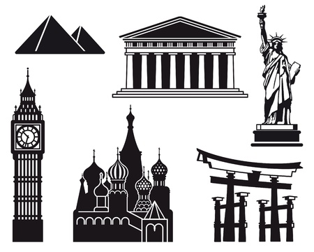 Icons of sights of the different countries of the world Vector