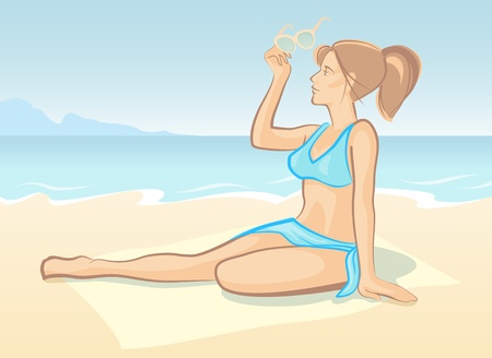 The girl on a beach Vector