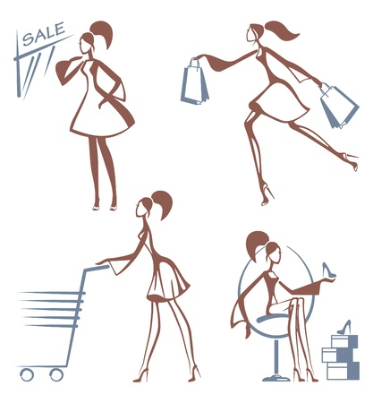 Shopping girls sketches Vector