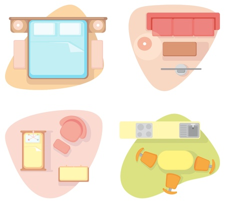 Symbols of furniture of different rooms Illustration