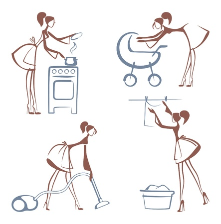 vacuuming: House Chores symbols Illustration