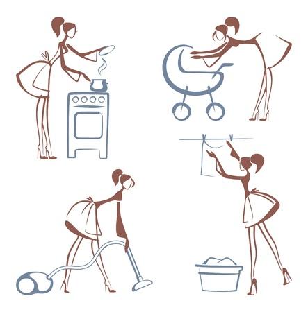 chores: Huiskarweien symbolen Stock Illustratie