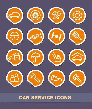 Car service icons on stickers Vector