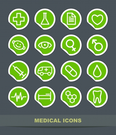 Set of simple medical symbols on stickers Vector