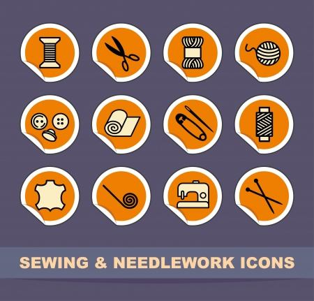 textile machine: Sewing and needlework icons Illustration