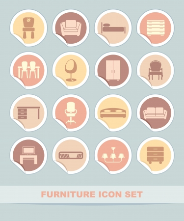 Furniture icon set on stickers Vector