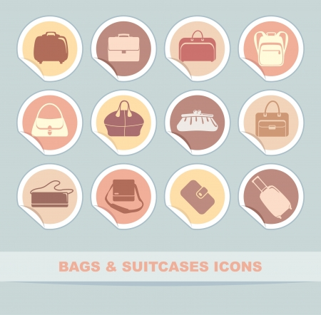 Simple icons of bags and handbags on stickers Vector
