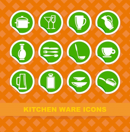 Symbols of kitchen ware on stickers Stock Vector - 13801271