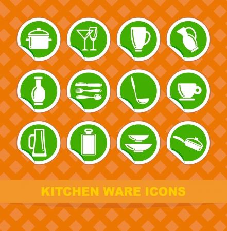Symbols of kitchen ware on stickers