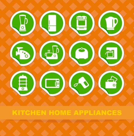 Kitchen home appliances on stickers Stock Vector - 13801272