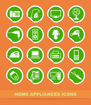 Home appliances icons on stickers Stock Vector - 13905826