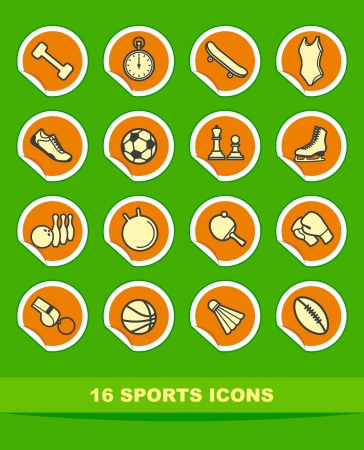 Simple sports icons on stickers Vector