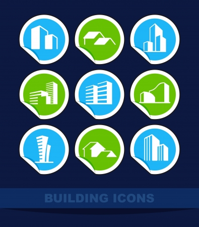 Simple symbols of real estate on stickers Vector