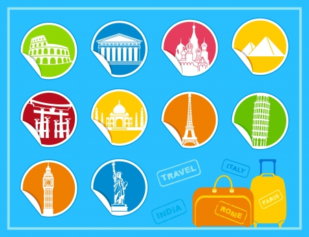 national monuments: Stickers with symbols of the different countries