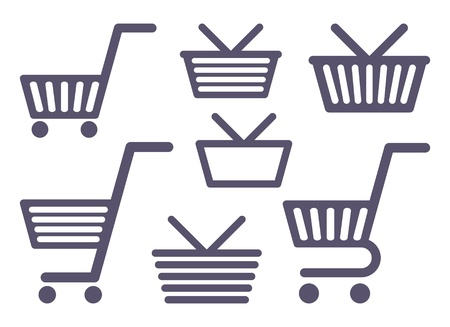 Icons of carts and baskets for shopping Vector