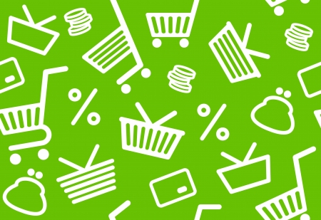Seamless background with shopping symbols Vector