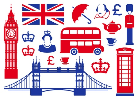 drapeau angleterre: Ic�nes sur un th�me de l'Angleterre Illustration