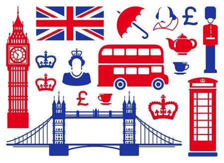 bus anglais: Icônes sur un thème de l'Angleterre Illustration