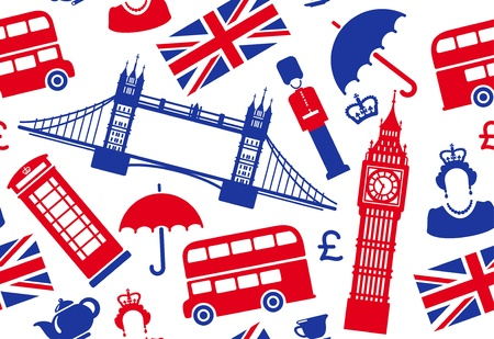 london bus: Seamless background on a theme of England