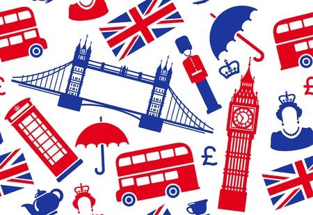 bus anglais: Seamless background sur un th�me de l'Angleterre Illustration