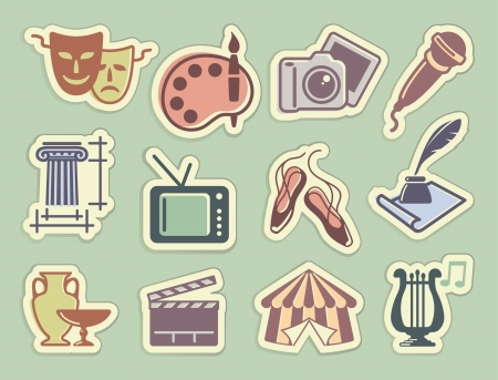 Art icons on stickers Stock Vector - 14606690
