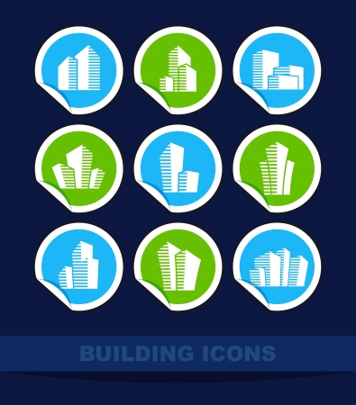 Building icons on stickers Vector