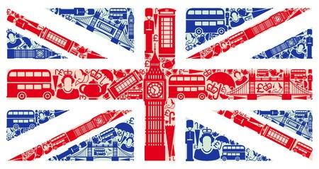 bus anglais: Drapeau de l'Angleterre � partir de symboles du Royaume-Uni et Londres