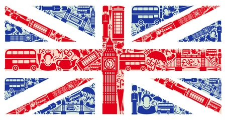 london bus: Flag of England from symbols of the United Kingdom and London