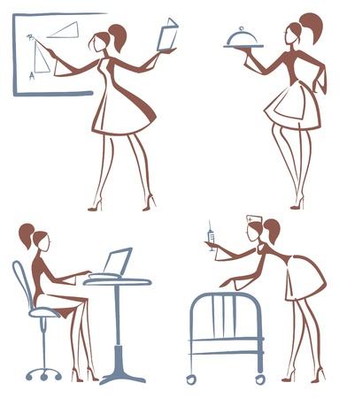 Schetsen van meisjes: serveersters, leraren, de secretaris, de verpleegkundige