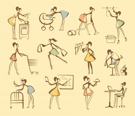 madre trabajando: Bocetos de siluetas de las niñas Vectores