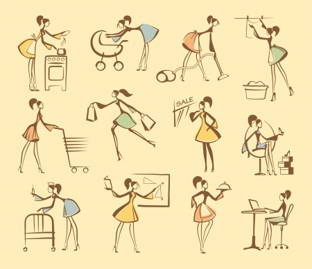 wash painting: Sketches of silhouettes of girls