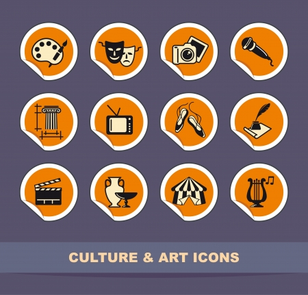 Art icons on stickers Stock Vector - 15128097
